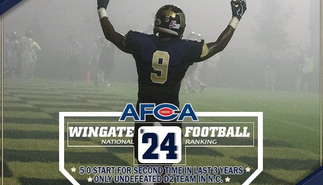 Wingate football beats Pembroke to remain undefeated and advances in AFCA ranking